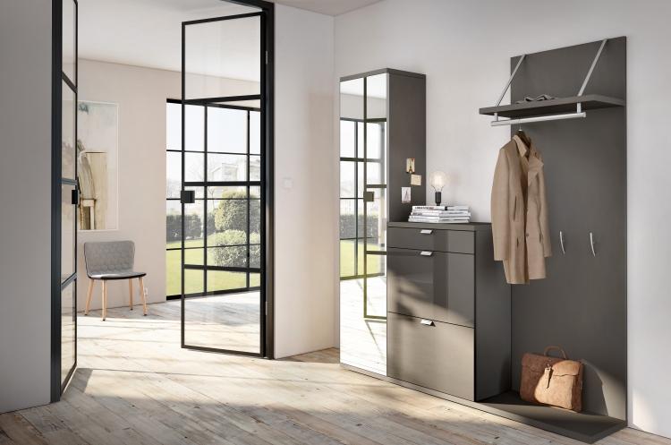 moderne garderoben sets flur huelsta grau hochglanz modern rechteckig tameta ست کردن جاکفشی و جالباسی در دکوراسیون منزل