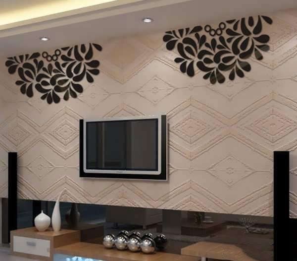 Wall behind the TV4 1 تزیین و طراحی دیوار پشت تلویزیون با ایده های جدید