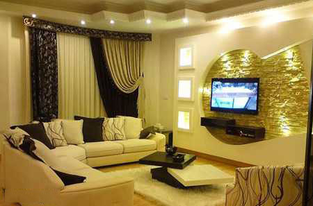 tv decoration10 انواع دکوراسیون دیوار پشت تلویزیون LCD و LED سنگ و کناف