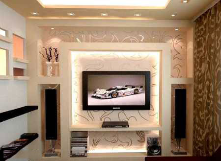 tv decoration8 انواع دکوراسیون دیوار پشت تلویزیون LCD و LED سنگ و کناف