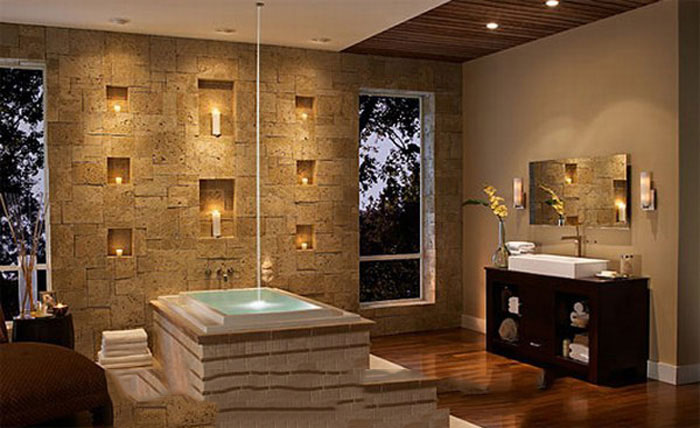 bathroom decorating by using stunning wall stone دکوراسیون با سنگ آنتیک و دکوراتیو