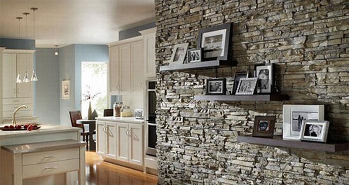 kitchen decor by using stunning wall stone دکوراسیون با سنگ آنتیک و دکوراتیو