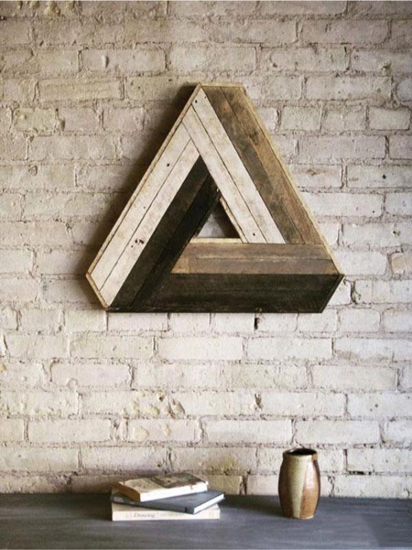 multicoloured triangle reclaimed wood wall art 600x801 دکوری چوبی بر روی دیوار
