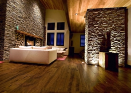 natural living room design with exposed stone wall 260x185 مطالب دکوراسیون
