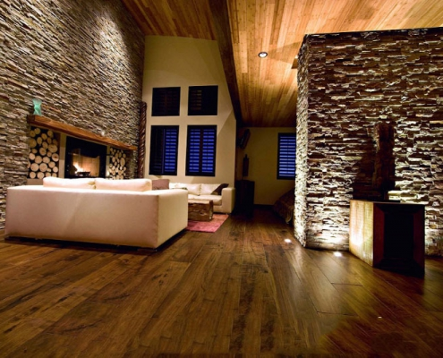 natural living room design with exposed stone wall 495x400 صفحه اصلی