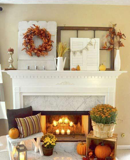 decorating the fireplace2 تزیین شومینه با دکوری های زیبا و پاییزی