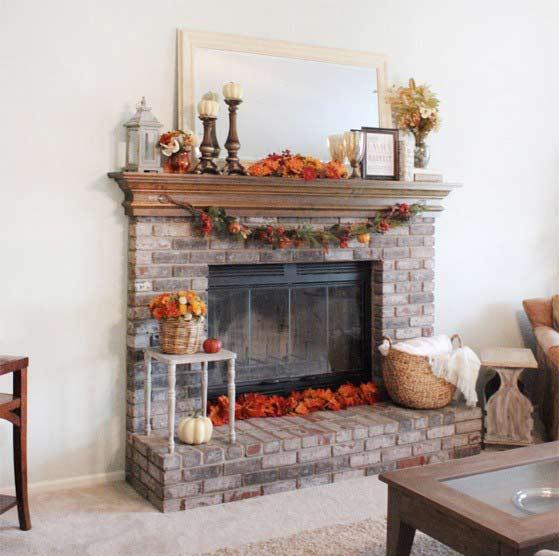 decorating the fireplace3 تزیین شومینه با دکوری های زیبا و پاییزی