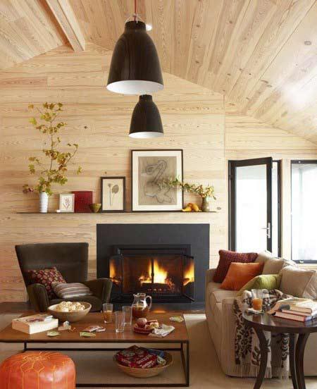 decorating the fireplace5 تزیین شومینه با دکوری های زیبا و پاییزی